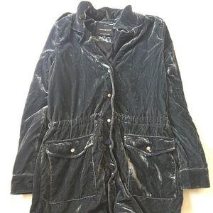 Blue Gray Soft Velvet Jacket